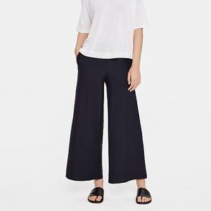 Eileen Fisher Ankle Wide Leg Crepe Pants Ink NWT